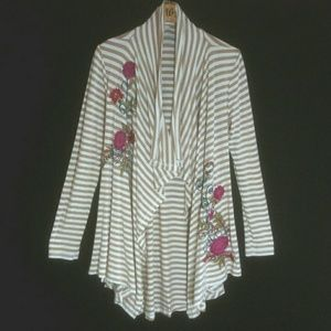 Soft Surroundings blouse top striped white floral
